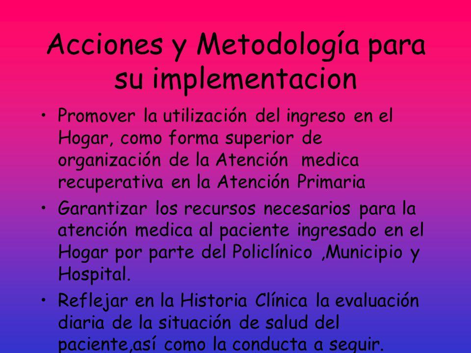 Acciones y Metodología para su implementacion Promover la utilización del ingreso en el Hogar, como forma superior de organización de la Atención medi