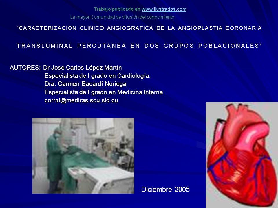 CARACTERIZACION CLINICO ANGIOGRAFICA DE LA ANGIOPLASTIA CORONARIA TRANSLUMINAL PERCUTANEA EN DOS GRUPOS POBLACIONALES AUTORES: Dr José Carlos López Ma