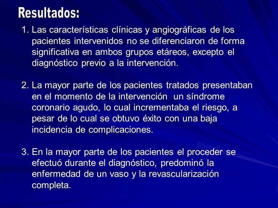 1.Las características clínicas y angiográficas de los pacientes intervenidos no se diferenciaron de forma significativa en ambos grupos etáreos, excep