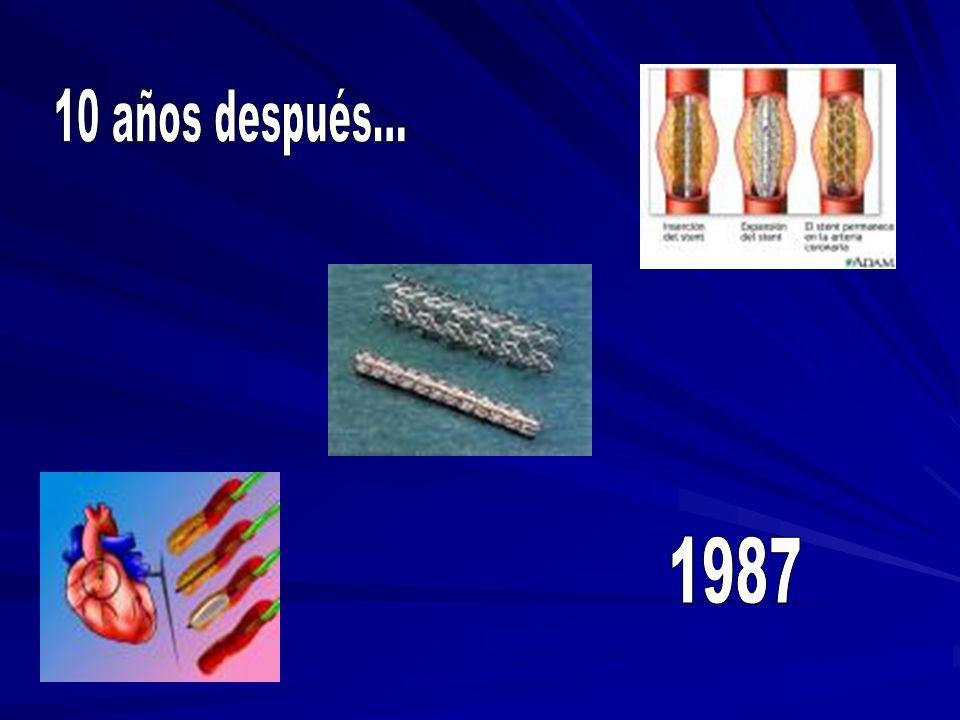 Se implantan los primeros Stent intra-coronarios en un ser humano por Jacques Puel y Ulrich Sigwart.