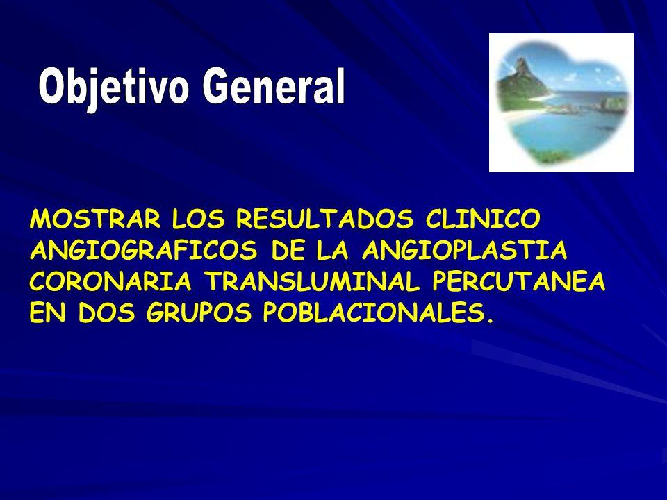 MOSTRAR LOS RESULTADOS CLINICO ANGIOGRAFICOS DE LA ANGIOPLASTIA CORONARIA TRANSLUMINAL PERCUTANEA EN DOS GRUPOS POBLACIONALES.