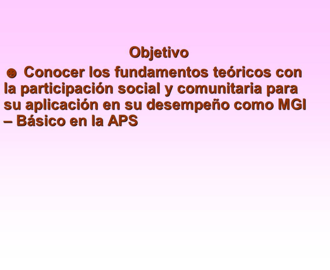 1) Comunidad.Concepto. 2) Participación Social y Comunitaria.