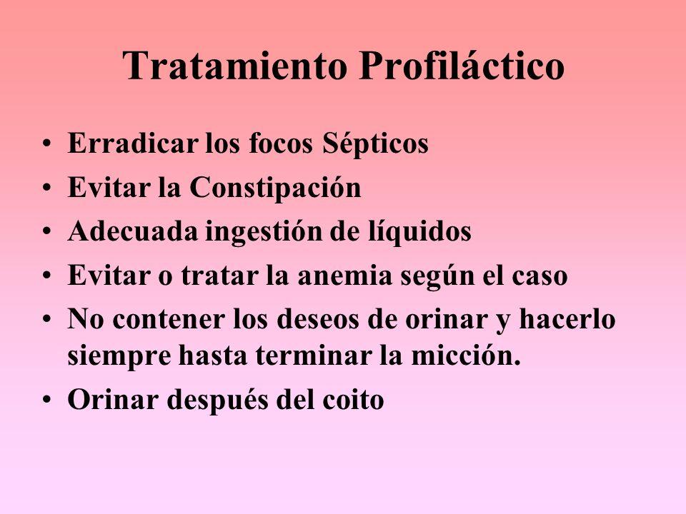 Tratamiento Profiláctico Erradicar los focos Sépticos Evitar la Constipación Adecuada ingestión de líquidos Evitar o tratar la anemia según el caso No