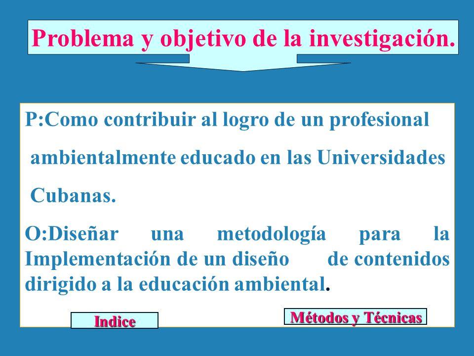 Problema y objetivo de la investigación. P:Como contribuir al logro de un profesional ambientalmente educado en las Universidades Cubanas. O:Diseñar u