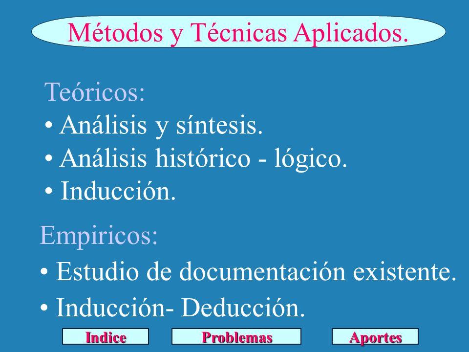 Métodos y Técnicas Aplicados. Teóricos: Análisis y síntesis. Análisis histórico - lógico. Inducción. Empiricos: Estudio de documentación existente. In