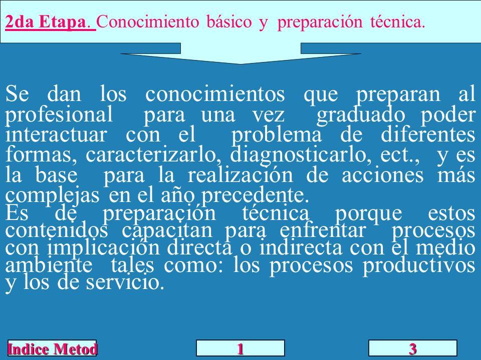 2da Etapa. Conocimiento básico y preparación técnica. Se dan los conocimientos que preparan al profesional para una vez graduado poder interactuar con