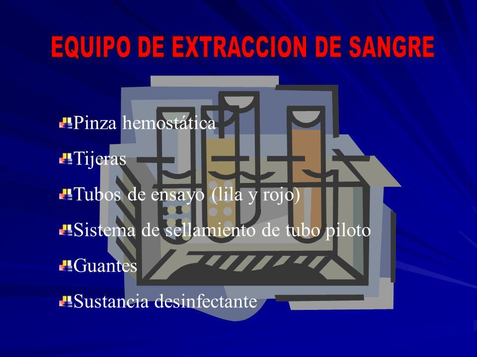 Pinza hemostática Tijeras Tubos de ensayo (lila y rojo) Sistema de sellamiento de tubo piloto Guantes Sustancia desinfectante