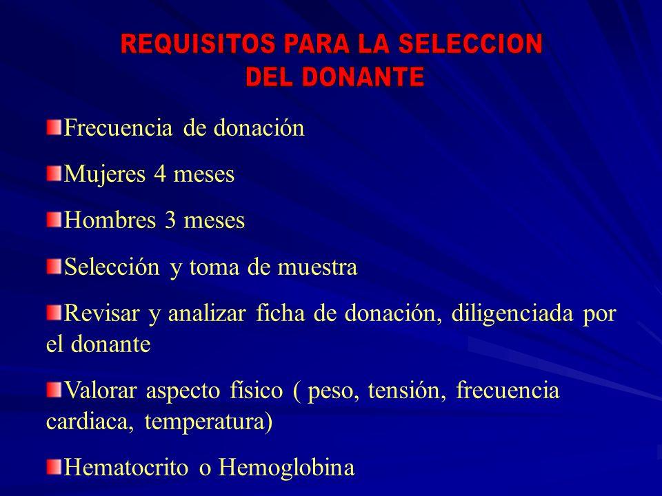 Frecuencia de donación Mujeres 4 meses Hombres 3 meses Selección y toma de muestra Revisar y analizar ficha de donación, diligenciada por el donante V