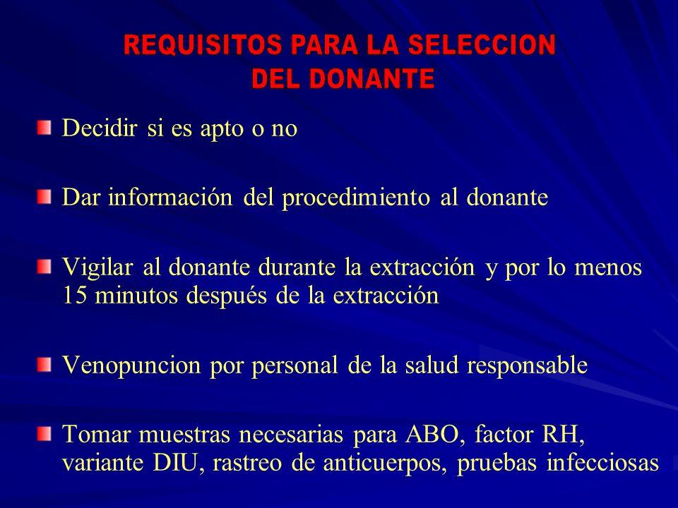 Decidir si es apto o no Dar información del procedimiento al donante Vigilar al donante durante la extracción y por lo menos 15 minutos después de la