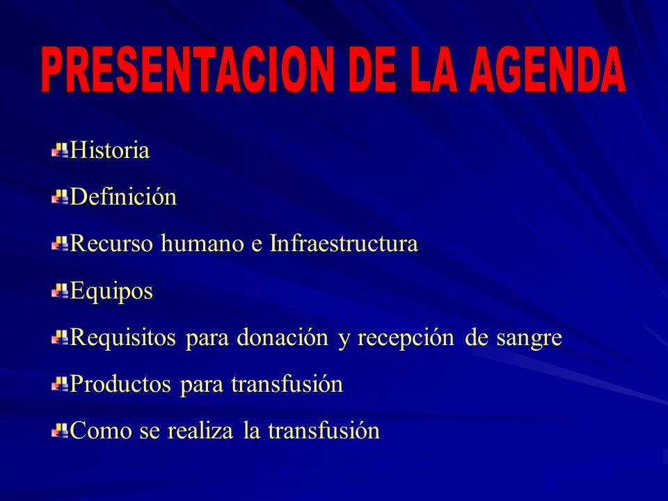 Historia Definición Recurso humano e Infraestructura Equipos Requisitos para donación y recepción de sangre Productos para transfusión Como se realiza