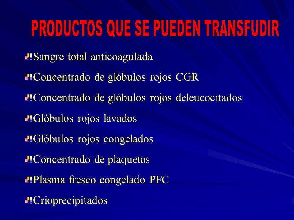 Sangre total anticoagulada Concentrado de glóbulos rojos CGR Concentrado de glóbulos rojos deleucocitados Glóbulos rojos lavados Glóbulos rojos congel