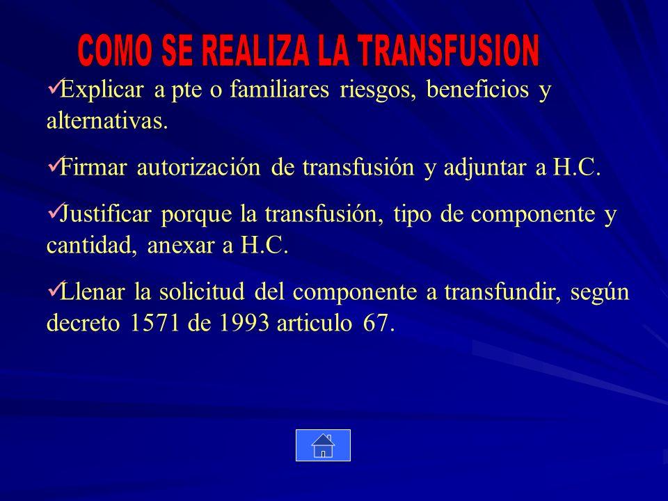 Explicar a pte o familiares riesgos, beneficios y alternativas. Firmar autorización de transfusión y adjuntar a H.C. Justificar porque la transfusión,