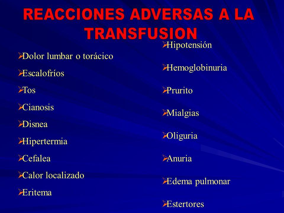 Dolor lumbar o torácico Escalofríos Tos Cianosis Disnea Hipertermia Cefalea Calor localizado Eritema Hipotensión Hemoglobinuria Prurito Mialgias Oligu