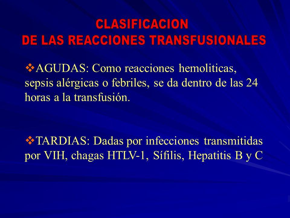 AGUDAS: Como reacciones hemoliticas, sepsis alérgicas o febriles, se da dentro de las 24 horas a la transfusión. TARDIAS: Dadas por infecciones transm