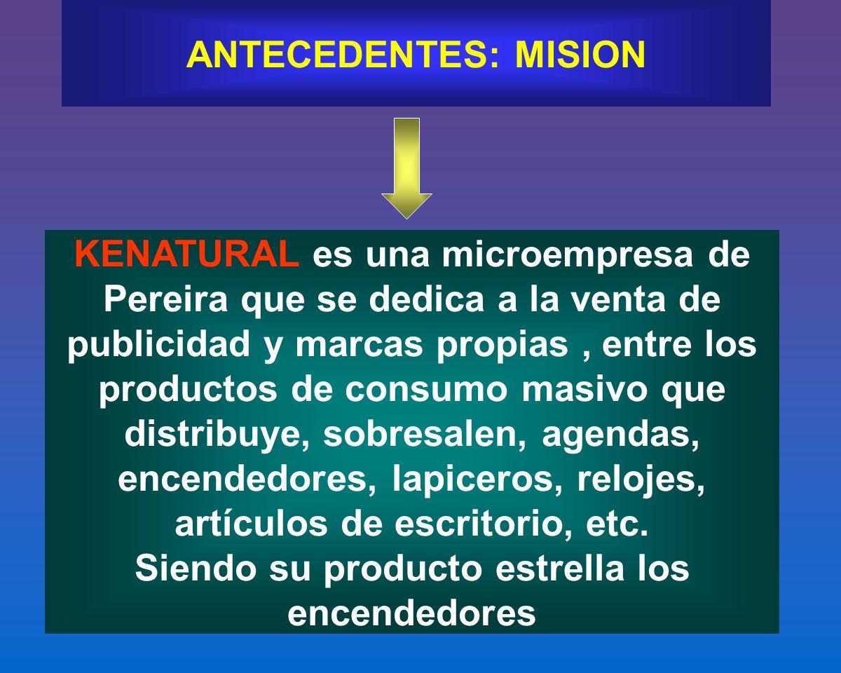ANTECEDENTES: MISION KENATURAL es una microempresa de Pereira que se dedica a la venta de publicidad y marcas propias, entre los productos de consumo