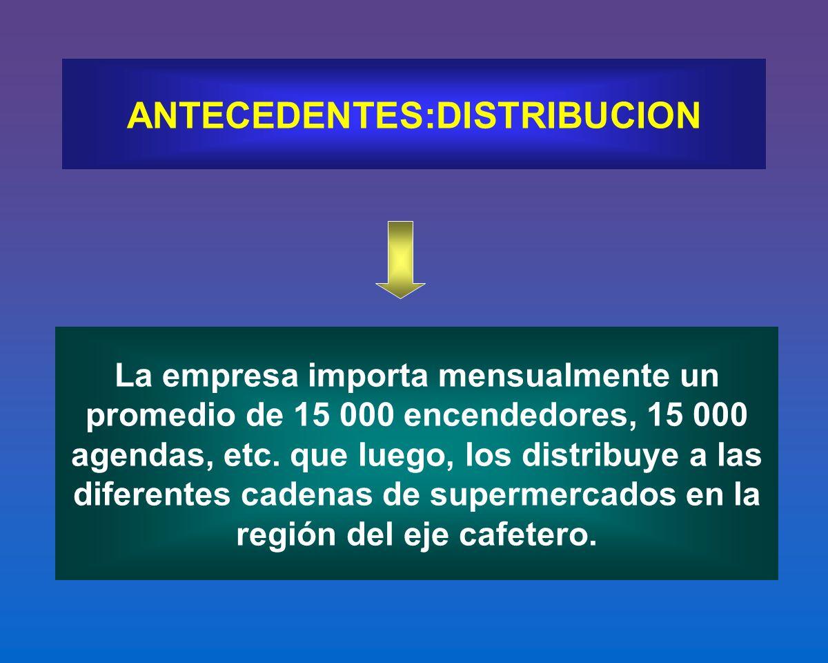 La empresa importa mensualmente un promedio de 15 000 encendedores, 15 000 agendas, etc. que luego, los distribuye a las diferentes cadenas de superme