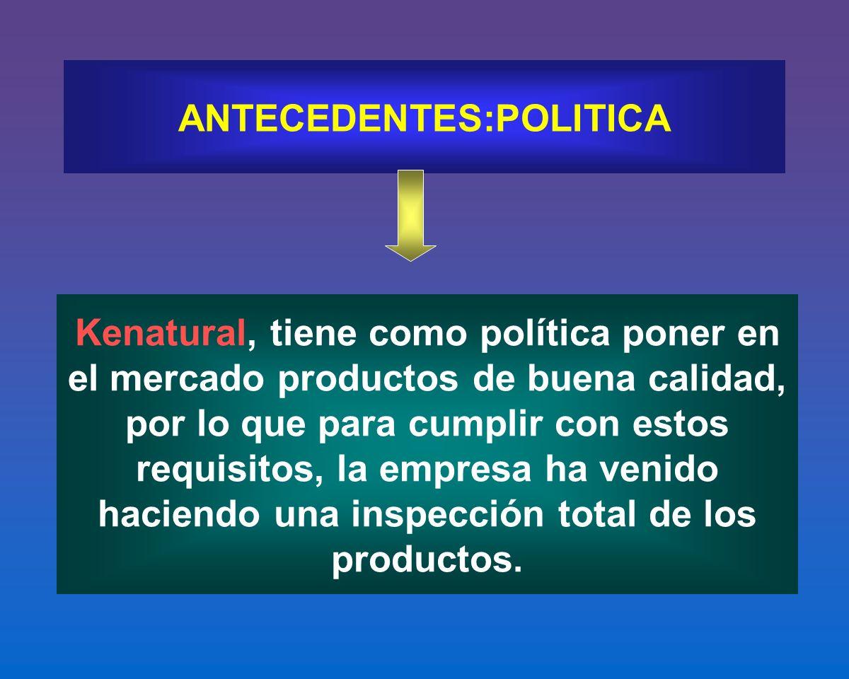 ANTECEDENTES:POLITICA Kenatural, tiene como política poner en el mercado productos de buena calidad, por lo que para cumplir con estos requisitos, la