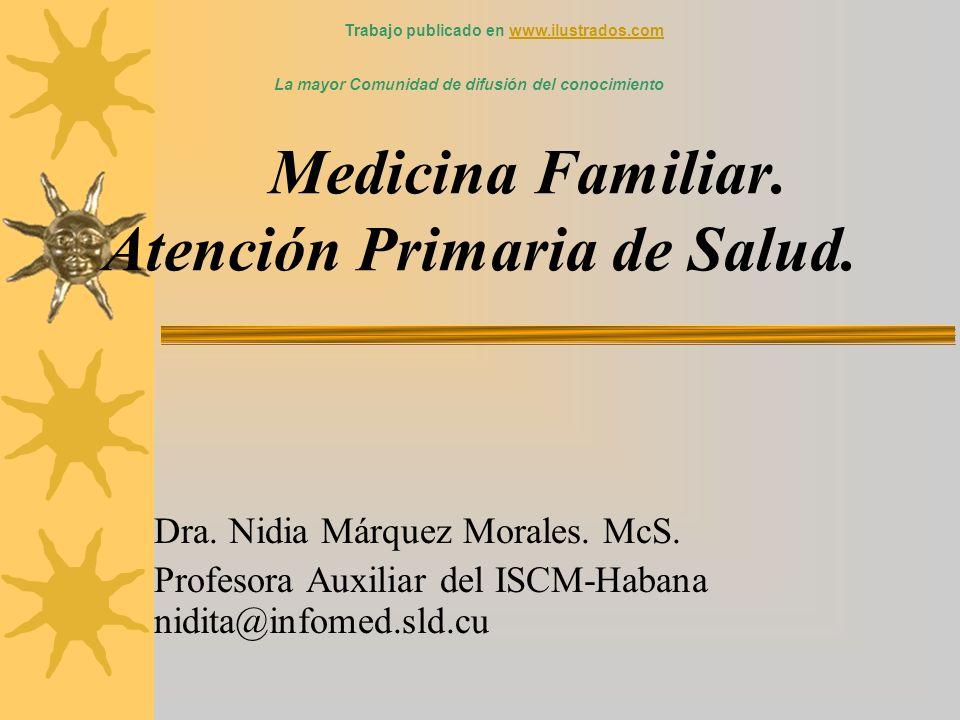 Medicina Familiar. Atención Primaria de Salud. Dra. Nidia Márquez Morales. McS. Profesora Auxiliar del ISCM-Habana nidita@infomed.sld.cu Trabajo publi