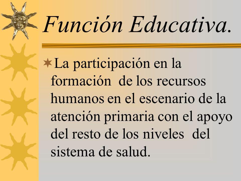 Función Educativa. La participación en la formación de los recursos humanos en el escenario de la atención primaria con el apoyo del resto de los nive