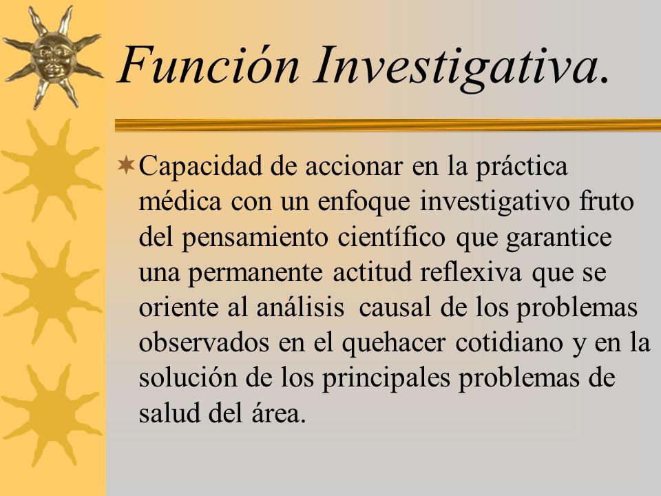 Función Investigativa. Capacidad de accionar en la práctica médica con un enfoque investigativo fruto del pensamiento científico que garantice una per