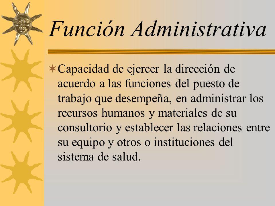 Función Administrativa Capacidad de ejercer la dirección de acuerdo a las funciones del puesto de trabajo que desempeña, en administrar los recursos h