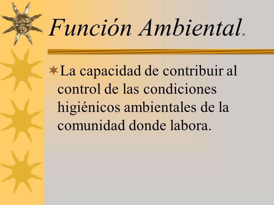Función Ambiental. La capacidad de contribuir al control de las condiciones higiénicos ambientales de la comunidad donde labora.