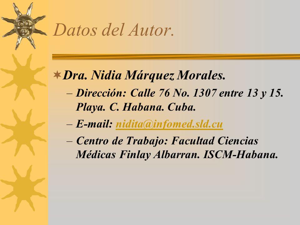 Datos del Autor. Dra. Nidia Márquez Morales. –Dirección: Calle 76 No. 1307 entre 13 y 15. Playa. C. Habana. Cuba. –E-mail: nidita@infomed.sld.cunidita
