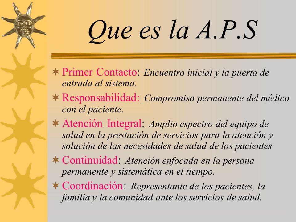 Que es la A.P.S Primer Contacto: Encuentro inicial y la puerta de entrada al sistema. Responsabilidad: Compromiso permanente del médico con el pacient