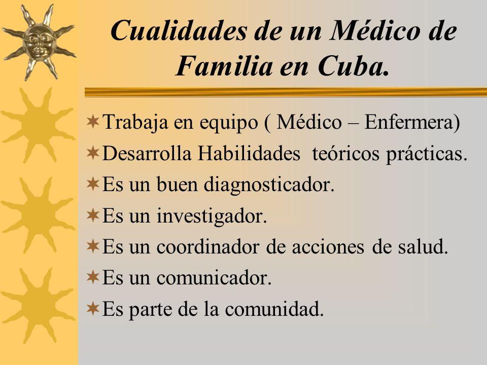 Cualidades de un Médico de Familia en Cuba. Trabaja en equipo ( Médico – Enfermera) Desarrolla Habilidades teóricos prácticas. Es un buen diagnosticad
