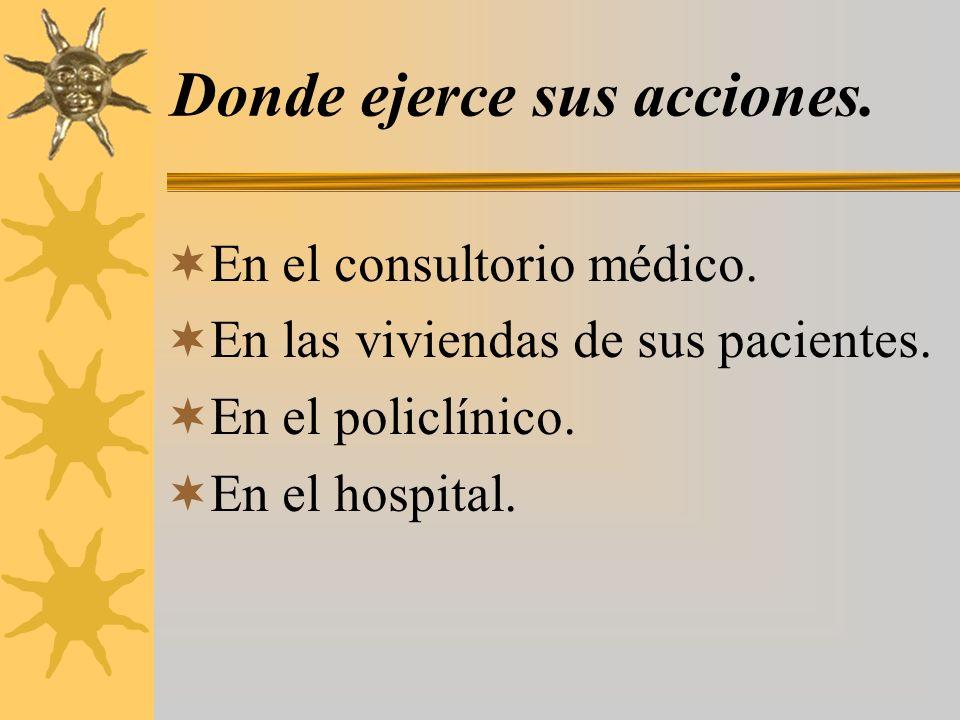 Donde ejerce sus acciones. En el consultorio médico. En las viviendas de sus pacientes. En el policlínico. En el hospital.