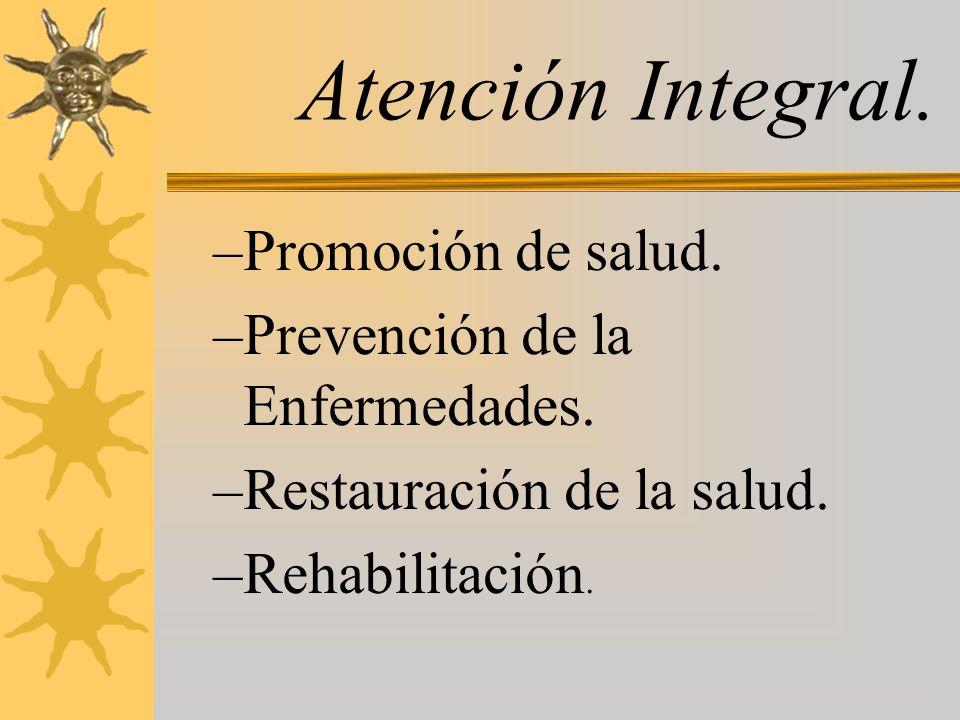 Atención Integral. –Promoción de salud. –Prevención de la Enfermedades. –Restauración de la salud. –Rehabilitación.