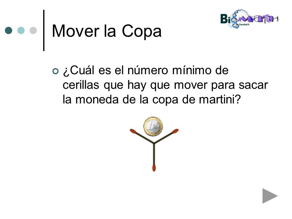 Mover la Copa ¿Cuál es el número mínimo de cerillas que hay que mover para sacar la moneda de la copa de martini?
