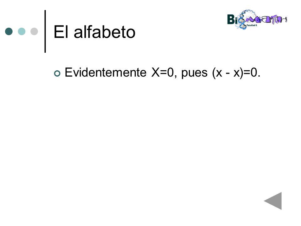 El alfabeto Evidentemente X=0, pues (x - x)=0.