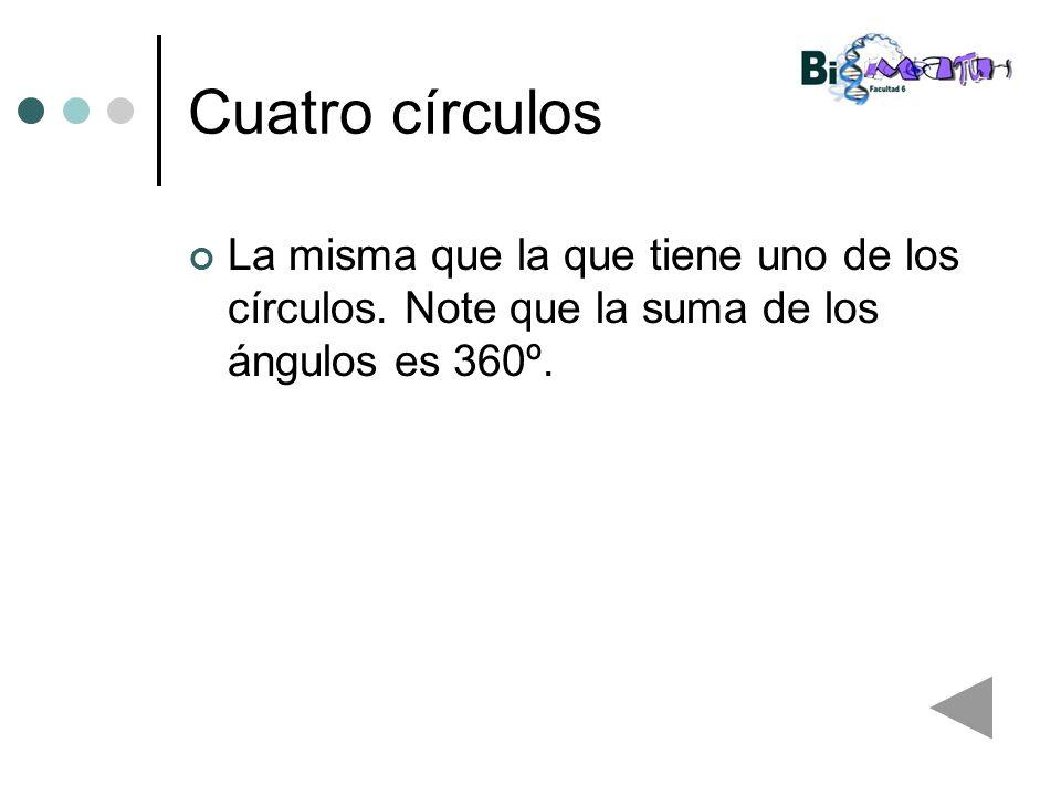 Cuatro círculos La misma que la que tiene uno de los círculos. Note que la suma de los ángulos es 360º.