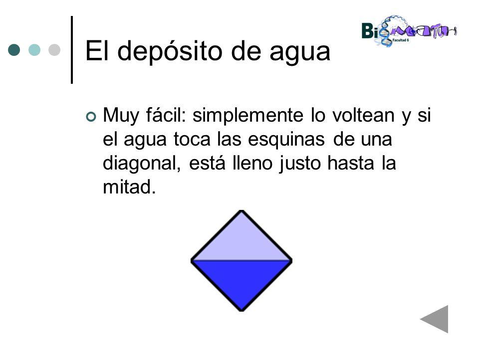 El depósito de agua Muy fácil: simplemente lo voltean y si el agua toca las esquinas de una diagonal, está lleno justo hasta la mitad.