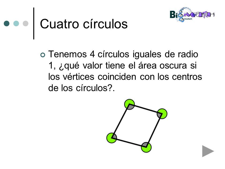 Cuatro círculos Tenemos 4 círculos iguales de radio 1, ¿qué valor tiene el área oscura si los vértices coinciden con los centros de los círculos?.