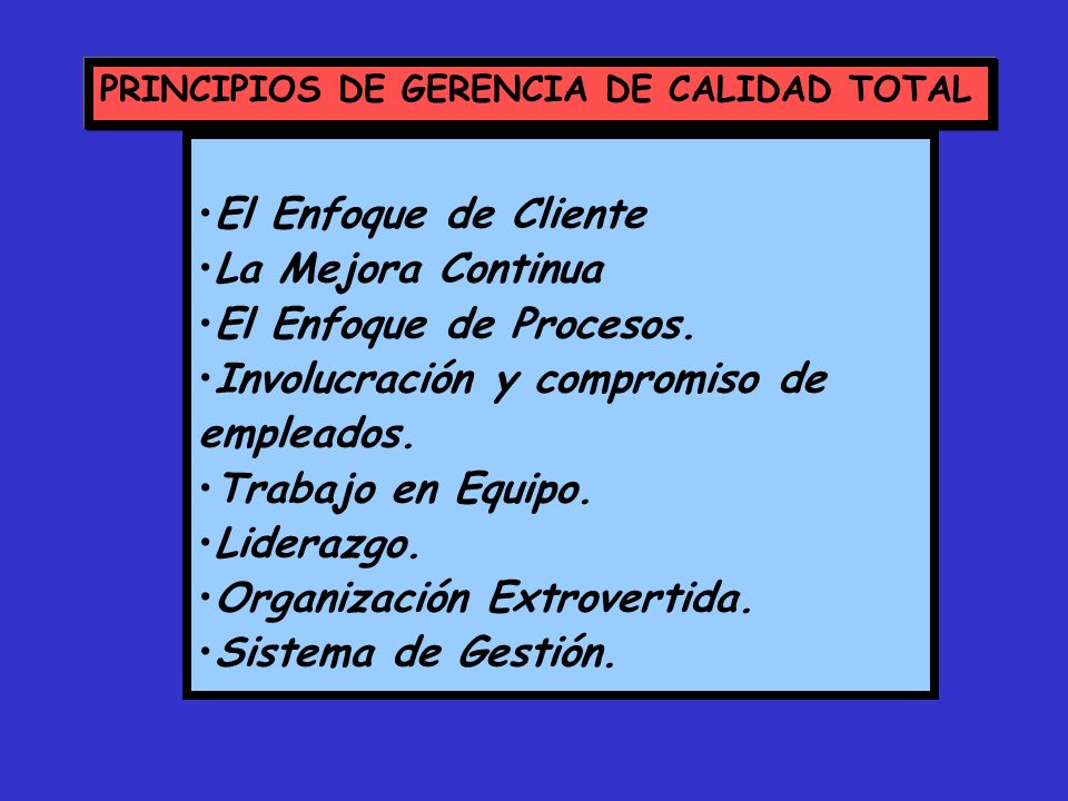 PRINCIPIOS DE GERENCIA DE CALIDAD TOTAL El Enfoque de Cliente La Mejora Continua El Enfoque de Procesos. Involucración y compromiso de empleados. Trab