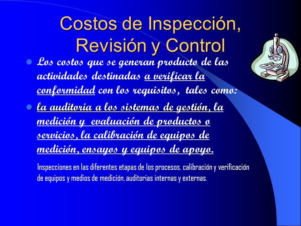 Costos de Prevención Los costos de todas las actividades destinadas a evitar las No Conformidades en los productos y servicios. Planificación de la ca