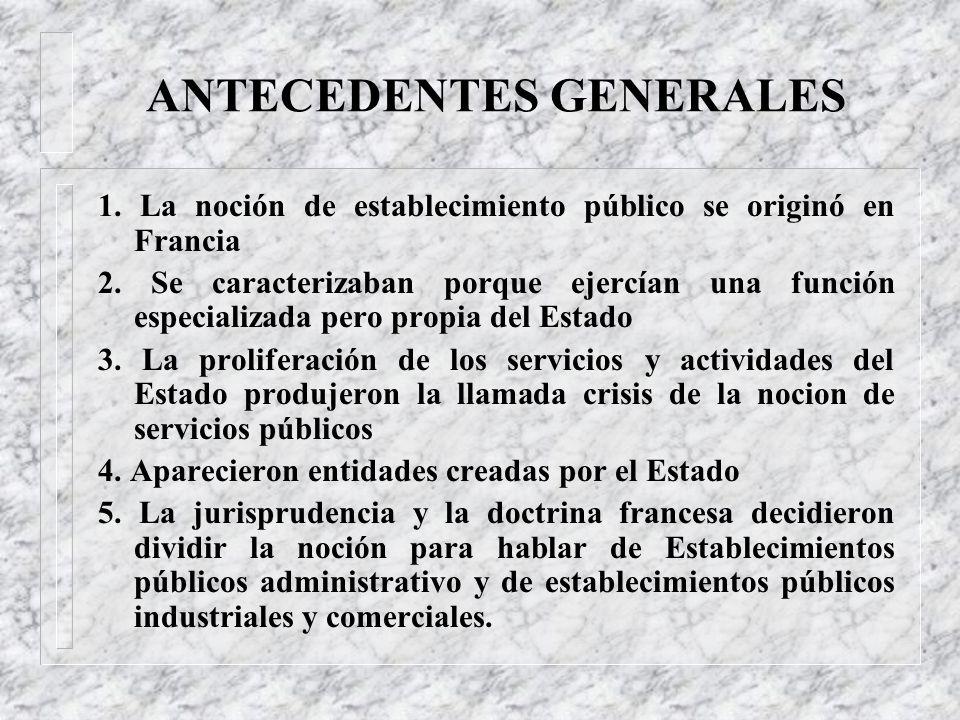 TABLA DE CONTENIDO 1. Antecedentes Generales 1.1 Antecedentes en Colombia 2. Introducción de las Empresas Industriales y Comerciales del Estado 3. Def