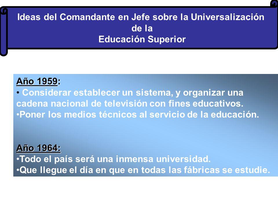 Ideas del Comandante en Jefe sobre la Universalización de la Educación Superior Año 1959: Considerar establecer un sistema, y organizar una cadena nacional de televisión con fines educativos.