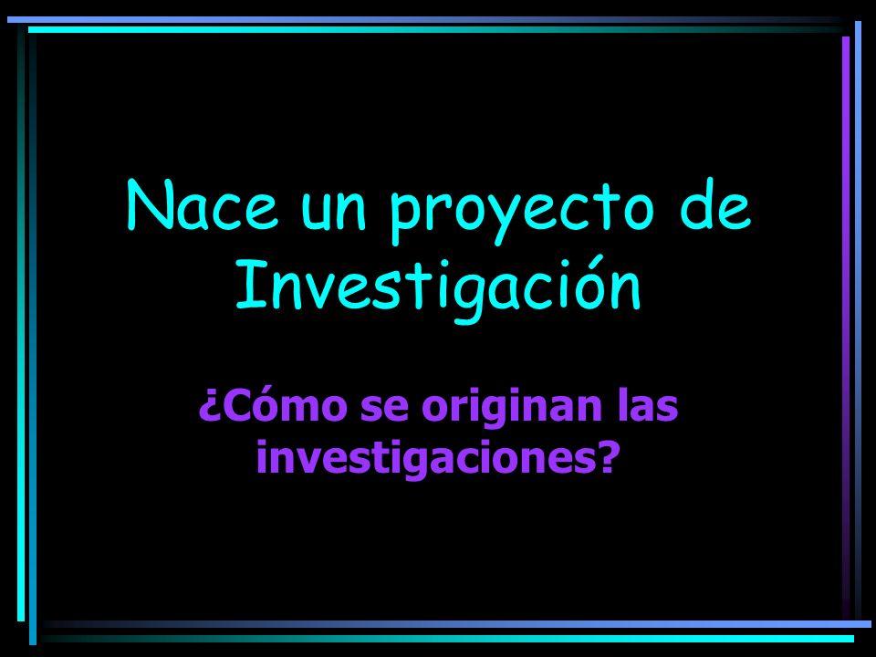 Nace un proyecto de Investigación ¿Cómo se originan las investigaciones?