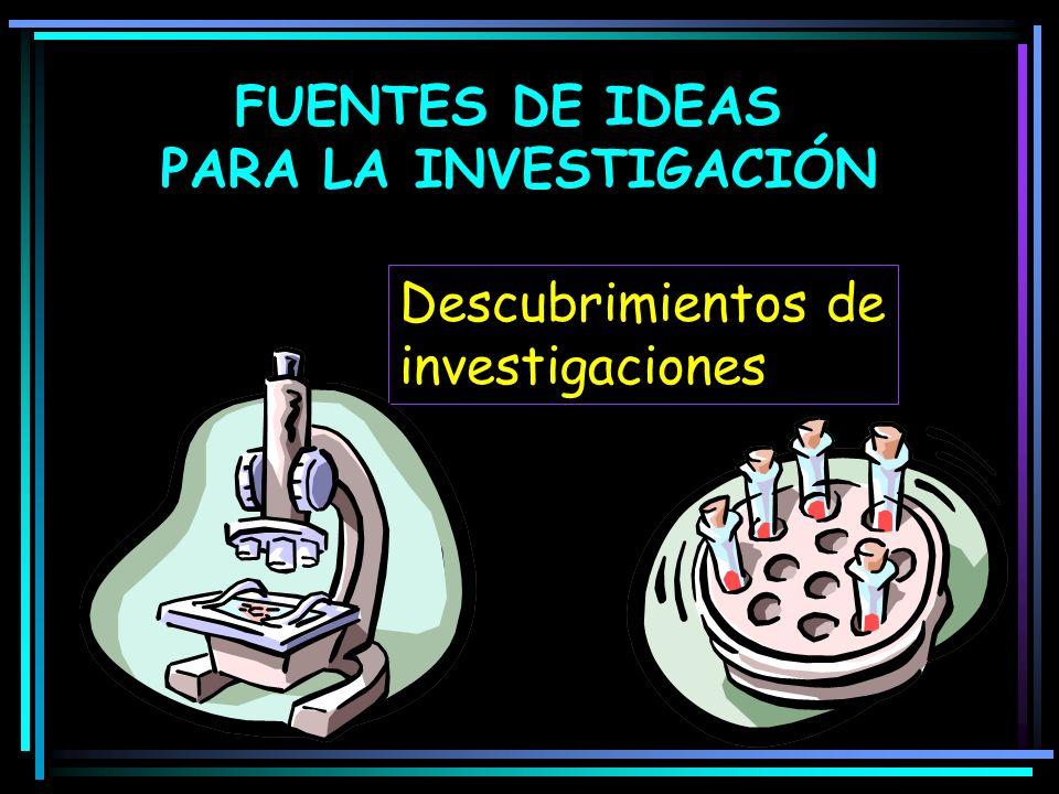 Descubrimientos de investigaciones FUENTES DE IDEAS PARA LA INVESTIGACIÓN