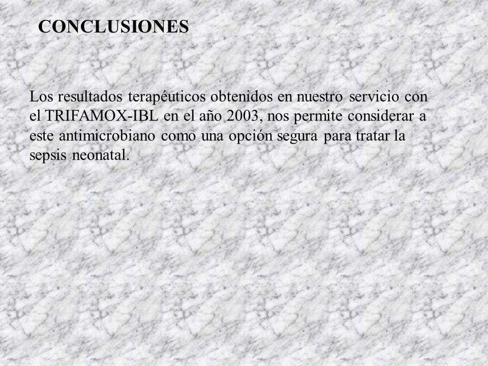 CONCLUSIONES Los resultados terapéuticos obtenidos en nuestro servicio con el TRIFAMOX-IBL en el año 2003, nos permite considerar a este antimicrobian