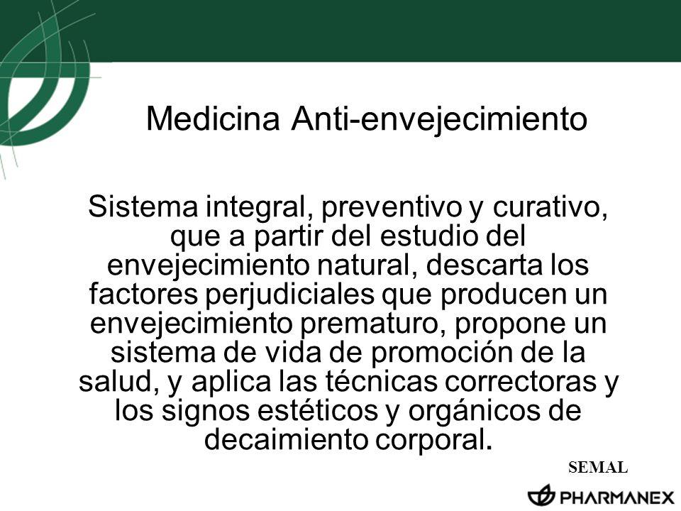 Medicina Anti-envejecimiento Sistema integral, preventivo y curativo, que a partir del estudio del envejecimiento natural, descarta los factores perju