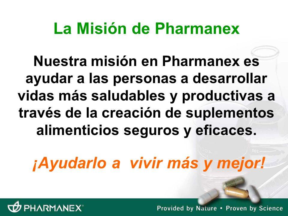 Nuestra misión en Pharmanex es ayudar a las personas a desarrollar vidas más saludables y productivas a través de la creación de suplementos alimentic