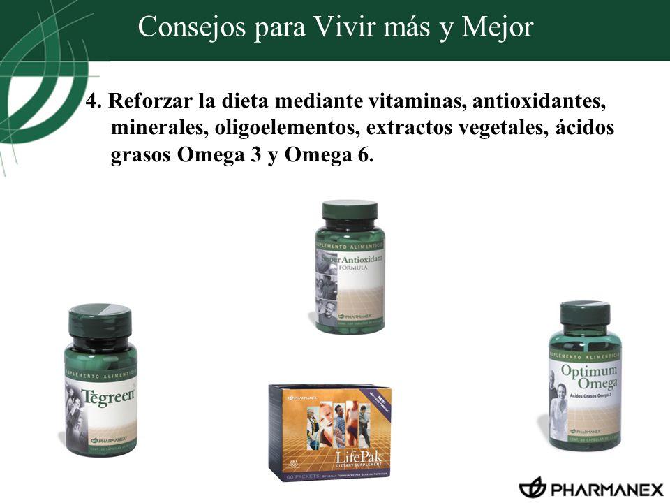 Consejos para Vivir más y Mejor 4. Reforzar la dieta mediante vitaminas, antioxidantes, minerales, oligoelementos, extractos vegetales, ácidos grasos