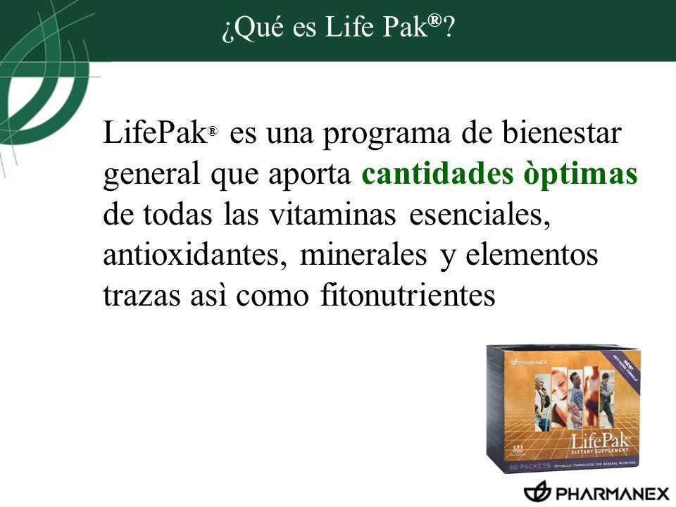 ¿Qué es Life Pak ® ? LifePak ® es una programa de bienestar general que aporta cantidades òptimas de todas las vitaminas esenciales, antioxidantes, mi
