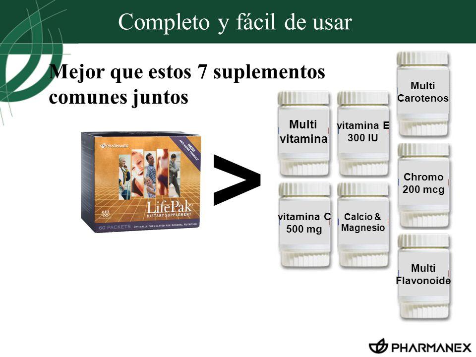 Completo y fácil de usar > Multi vitamina vitamina E 300 IU Calcio & Magnesio Chromo 200 mcg Multi Carotenos vitamina C 500 mg Multi Flavonoide Mejor