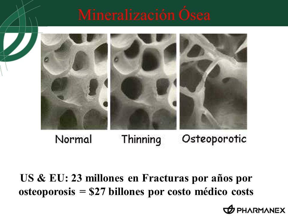 Mineralización Ósea US & EU: 23 millones en Fracturas por años por osteoporosis = $27 billones por costo médico costs