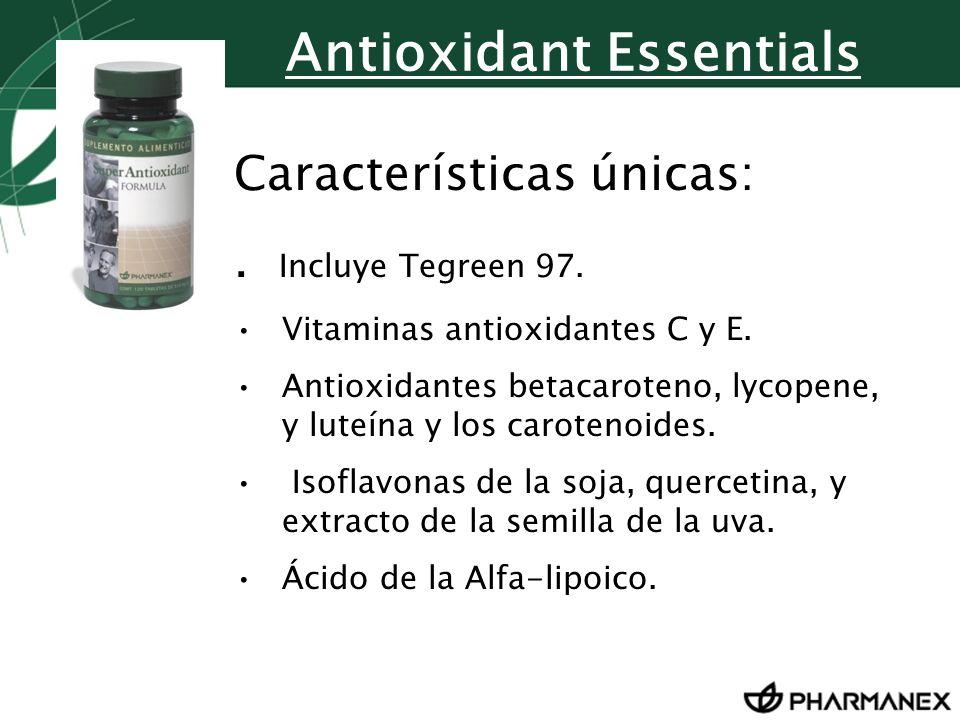 Características únicas:. Incluye Tegreen 97. Vitaminas antioxidantes C y E. Antioxidantes betacaroteno, lycopene, y luteína y los carotenoides. Isofla